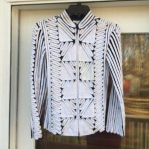 🌹3/$15 ANDREA ROSATI White & Black Ribbon Jacket